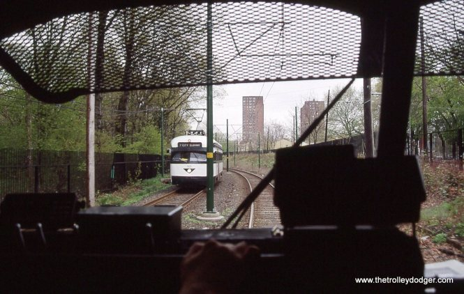 This is one of my favorite PCC photos. It shows car 15 seen from inside car 1 near Franklin Street. Number 1 is inbound while 15 is, of coarse, outbound.