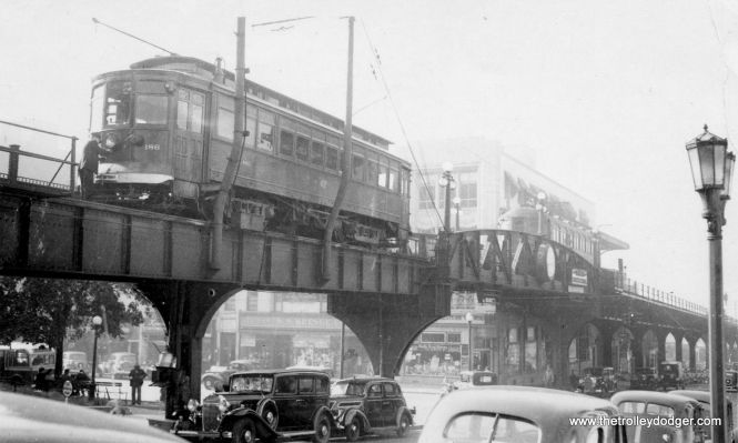 An LVT local car (yes, the interurban had locals as well as expresses) in Norristown in 1934, on the ramp up to the Philadelphia & Western terminal.