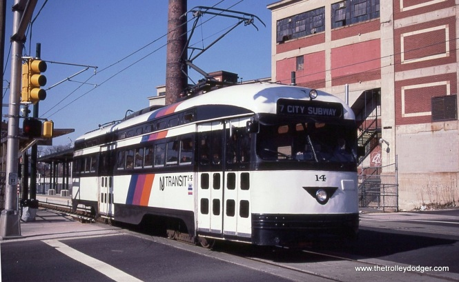 PCC 14 outbound at Orange St. Station on March 28, 2001.