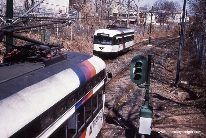 PCC 24 inbound and 14 outbound meet at Davenport Ave.