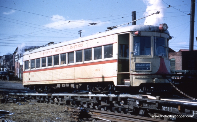 LVT 1030 loaded on a flat car at Riverside Yard on January 30, 1952, headed to Boston, and, eventually, the Seashore Trolley Museum in Maine, where it remains today in operable condition.
