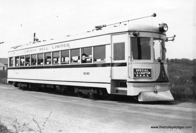 "LVT 1030, the so-called ""Golden Calf"" of the fleet, on a National Railway Historical Society fantrip on September 28, 1941. This club car was just being introduced into regular service at this time, and had been extensively rebuilt from Indiana Railroad car 55. Don's Rail Photos: ""1030 was built by American Car & Foundry in 1931, #1203, as Indiana RR 55. It was rebuilt in 1934 (as a club car) and rebuilt as C&LE 1030 in 1941. It was acquired by Seashore Trolley Museum in 1951."""
