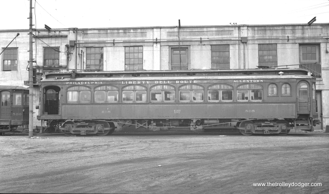 "LVT 808 in Allentown on April 22, 1934. Don's Rail Photos: ""808 was built by Jewett Car in 1913. It was rebuilt as C15 in 1935."" The C-series cars were used for interurban freight."