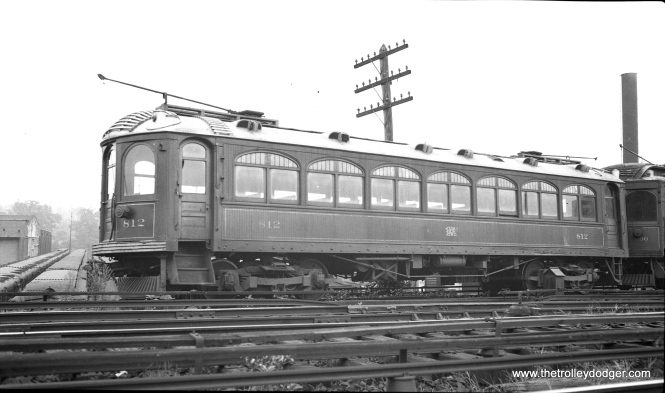 "LVT 812 at 69th Street terminal in Upper Darby on August 12, 1934. Most people refer to this as Philadelphia, but it is just outside the city limits. Don's Rail Photos says, ""812 was built by St Louis Car in 1901 as 159. It was rebuilt as 999 in 1914 and rebuilt as 812 in 1921. It was scrapped in November 1951."""