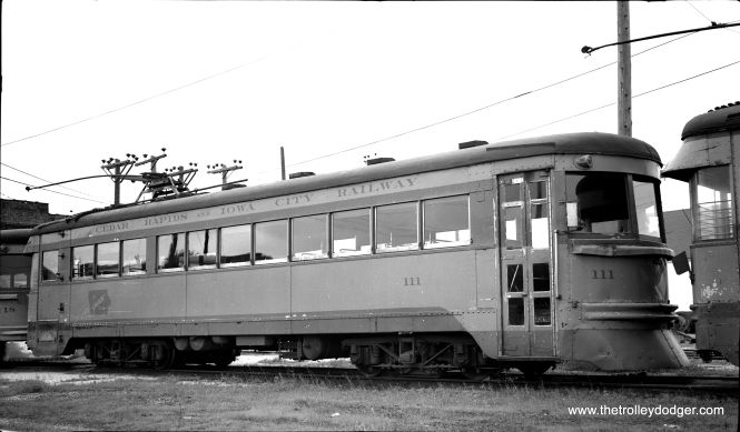 "CRANDIC 111, shown here on June 10, 1953, was another ex-Cinicinnati & Lake Erie lightweight interurban car. While all the ones that went to LVT were scrapped, some of the ones that went to CRANDIC were saved. Don's Rail Photos:""111 was built by Cincinnati Car in 1930, #3055, as C&LE 111. It was sold to Crandic in 1939 and kept the same number. In 1954 it was sold to an individual and stored at Emporia, KS, until 1973. It was then donated to the Bay Area Electric Railway Association at Rio Vista, CA. It has been restored as Crandic 111."""