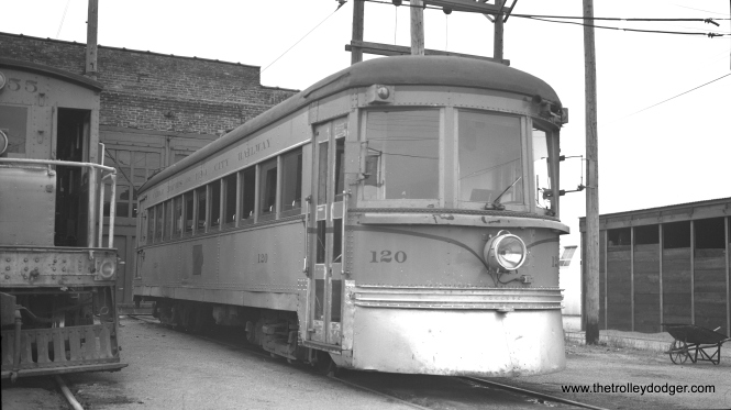 "One other Indiana Railroad high-speed car had a second life, in addition to 55. Car 65 became Cedar Rapids and Iowa City 120, shown here on June 10, 1953. From Don's Rail Photos: ""120 was built by Pullman in 1931, #6399, as Indiana Railroad 65. It was sold to the Crandic as 120 in 1941. In 1954 it was purchased as the first car of the Illinois Electric Railway Museum and restored as IRR 65."" The last official run of a CRANDIC passenger train occurred on May 30, 1953."