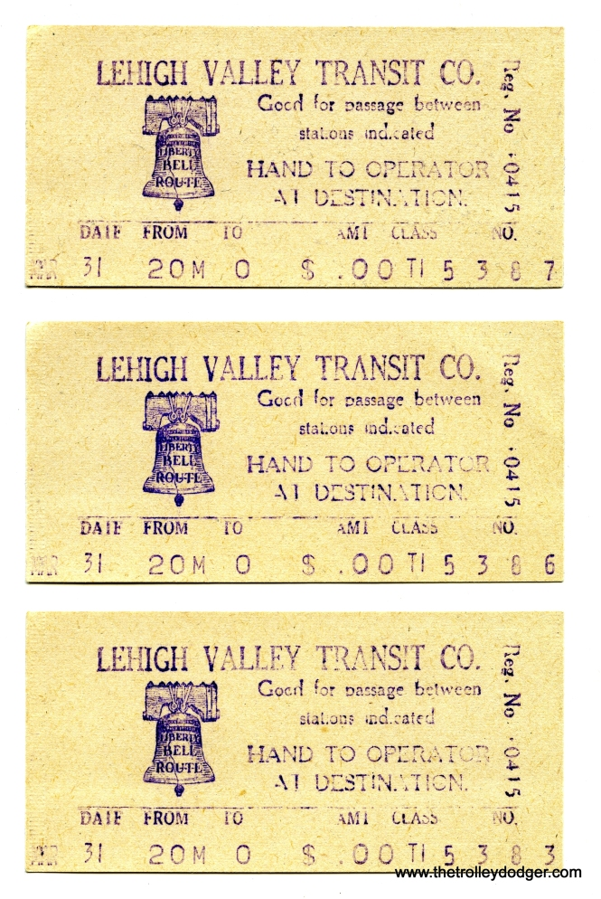 Machine-generated Liberty Bell Limited tickets.