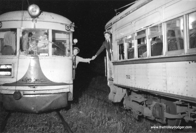 The final meet between two Liberty Bell Limited cars (1006 and 702), late in the night on September 6, 1951. The operators are F. Enters and C. Kistler. This was a press photo and appeared in newspapers. (Gerhard Solomon Photo)