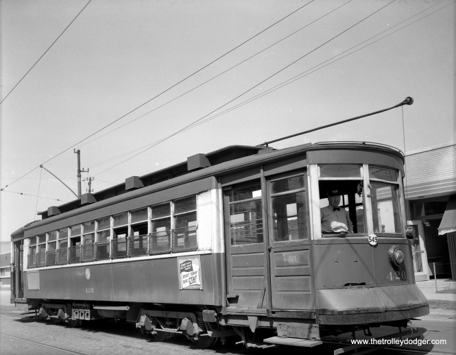 CTA Pullman 426 on route 52 - Kedzie-California on July 23, 1953, at California-Roscoe.