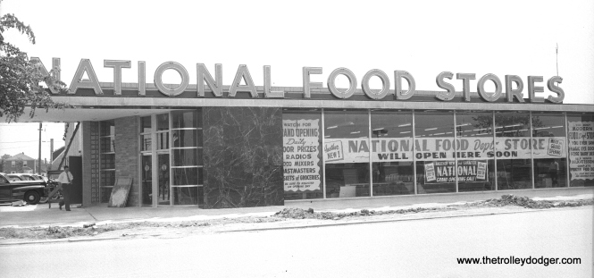 National was a popular grocery chain in postwar Chicago. This is how their new location at 1705 N. Harlem Avenue (a few blocks south of Grand ) looked on July 18, 1949, three days before opening. The building eventually became an Osco Drug and was torn down several years ago when Osco moved to a new building on the next block north. (Bob Kotalik Photo)
