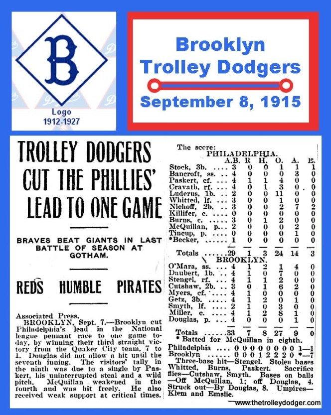 1915 THE BROOKLYN TROLLEY DODGERS