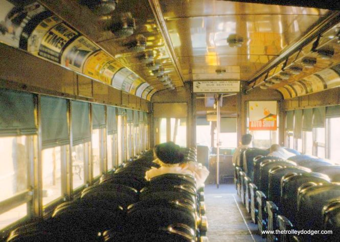 An interior view of a Red Arrow Bullet car in 1960. Note the similarity of these bucket seats and those on Indiana Railroad car 65, built around the same time as this car (1931).