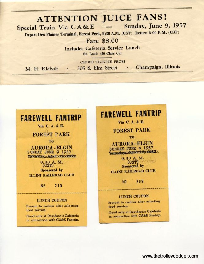 Ephemera from a 1957 CA&E fantrip organized by the late Maury Klebolt. He later moved to San Francisco and was instrumental in starting the historic trolley operations that continue to this day. (William Barber Collection)