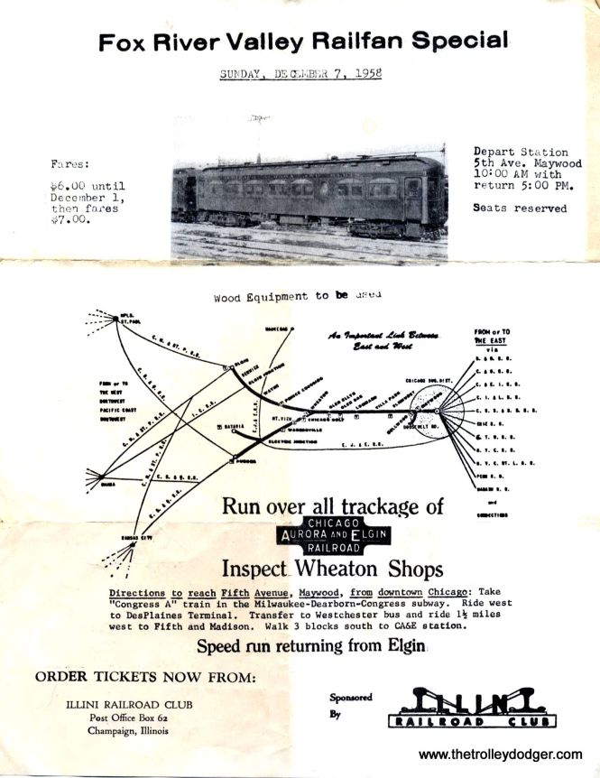 The flyer for what became the final passenger movement on the CA&E. Freight service lasted a few months into 1959 before it too was abandoned. Various efforts to revive the interurban failed, and it received government permission for complete abandonment in 1961. (William Barber Collection)