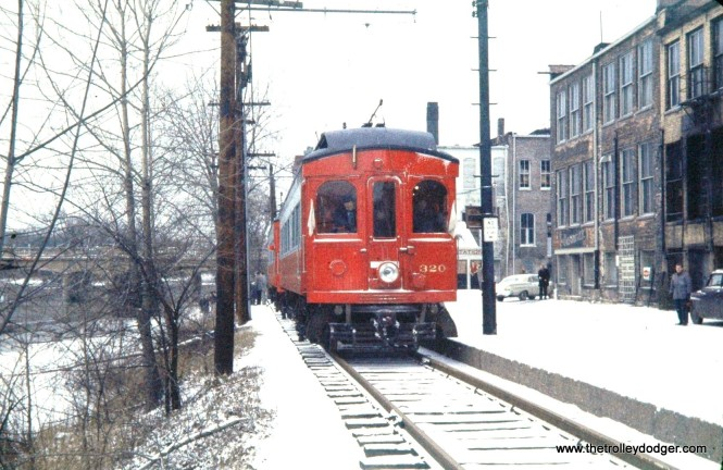Another picture from the December 7, 1958 CA&E fantrip. Here, the snow has started falling and we are at the Elgin end of the line. (Mark LLanuza Collection)