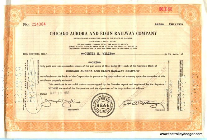 A CA&E stock certificate issued in 1956 to Curtis M. Wylie (1890-1958), a Michigan businessman. The stock was redeemed in 1959 after his death. Wylie left a bequest of $6.2m to the Grand Rapids Foundation, which continues to benefit the community today.