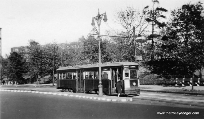 "B&QT 6008 on the Flatbush line. Michael T. Greene adds, ""The car wasn't built until 1930, and the light heads on the streetlight did not begin to appear on NYC streetlights until ca. 1939. The earliest this picture could have been was 1939."" (Trolley Museum of New York Collection)"