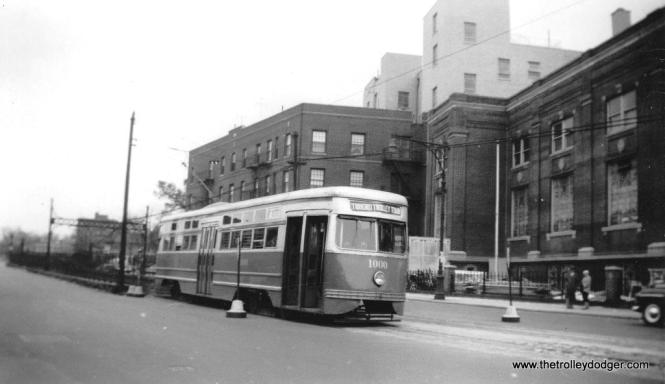 "B&QT 1000 at Church Ave. at E 5th, ""Triborough Trolley Tour,"" Apreil 22, 1951. (Trolley Museum of New York Collection)"