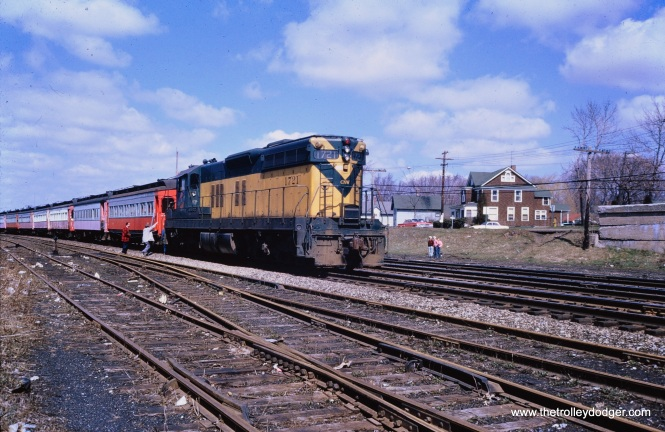 The saved CA&E cars on the C&NW in West Chicago, April 1962. (Mark Llanuza Collection)
