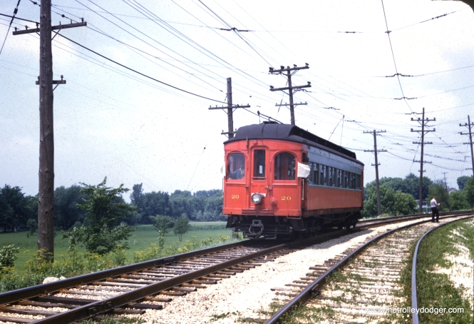 CA&E Car no. 20 on the Aurora Branch, June 9, 1957. (William Barber Collection)