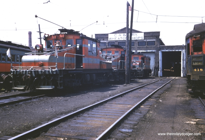 CA&E Motors 2001, 2002 and 3003 at Wheaton Shops. (William Barber Collection)