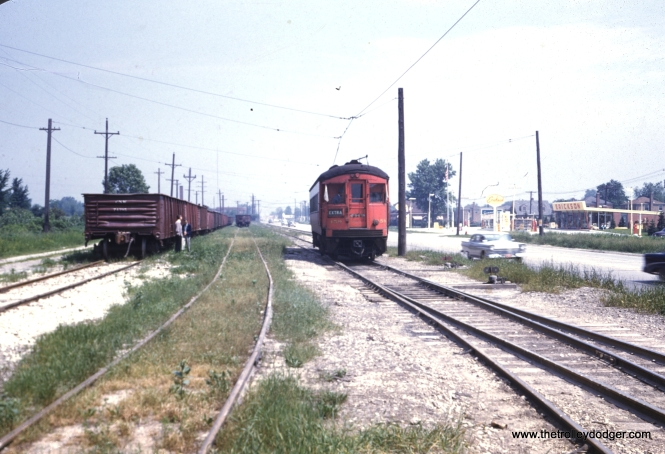 CA&E Car no. 459 on the Mannheim Spur, June 9, 1957. (William Barber Collection)