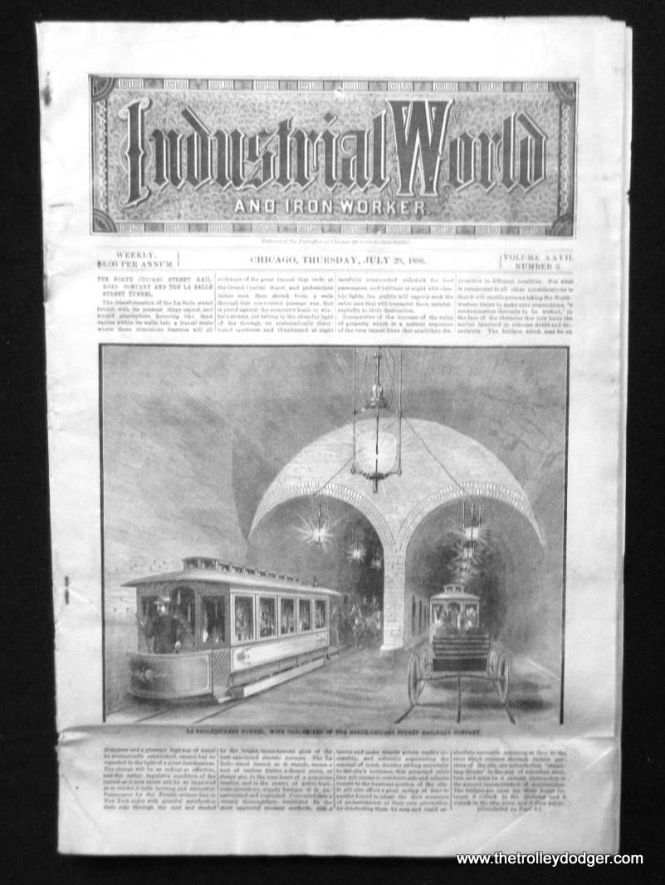 This 1886 trade magazine includes an article detailing how the LaSalle Street cable car tunnel under the Chicago River was being expanded and upgraded.