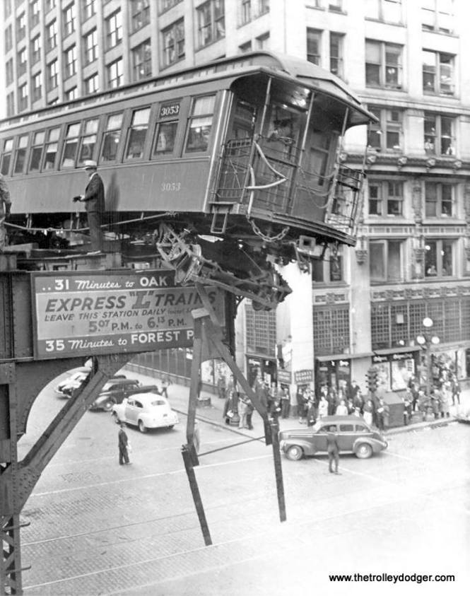 """We're close to the deadline for renewing this web site, but with your help, I am sure we'll make it in the nick of time. (Just like this train on the old Market Street stub on Chicago's """"L"""" in this 1940s view.)"""