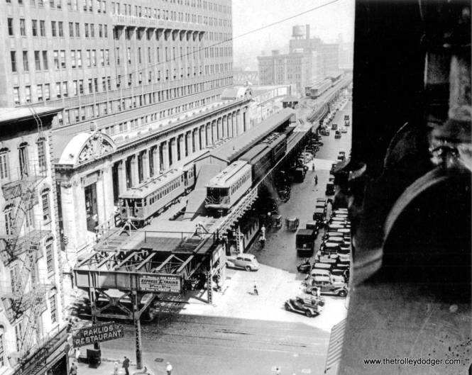 "Our previous post Trolley Dodgers (January 15, 2016) included a photo of the old Market Street stub terminal in downtown Chicago. Here is another view, probably from the late 1930s. It was torn down in 1948 after the CTA introduced A/B ""skip-stop"" service on the Lake Street ""L"", which rendered it unnecessary. (Chicago Transit Authority Photo)"