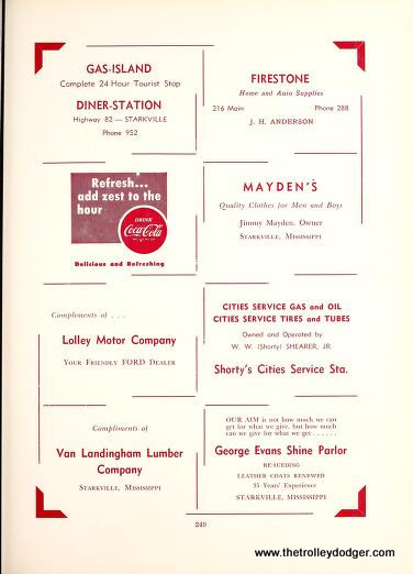 Above is a 1952 MSU annual showing ads for the Gas Island, mentioning the diner and tourists.