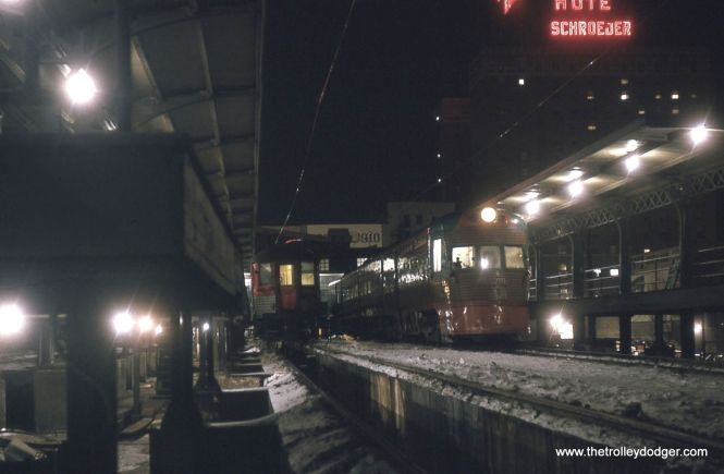A Silverliner and an Electroliner at the North Shore Line's Milwaukee terminal in January 1963.