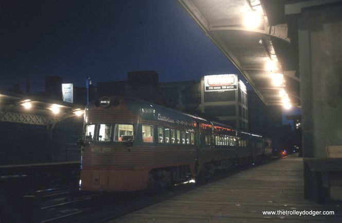 "An Electroliner on the Chicago ""L"" in July 1962. Not sure of the exact location, but I assume this is Roosevelt Road where the NSL had free reign between 1949 and 1963 (CTA trains ran through the nearby subway then)."