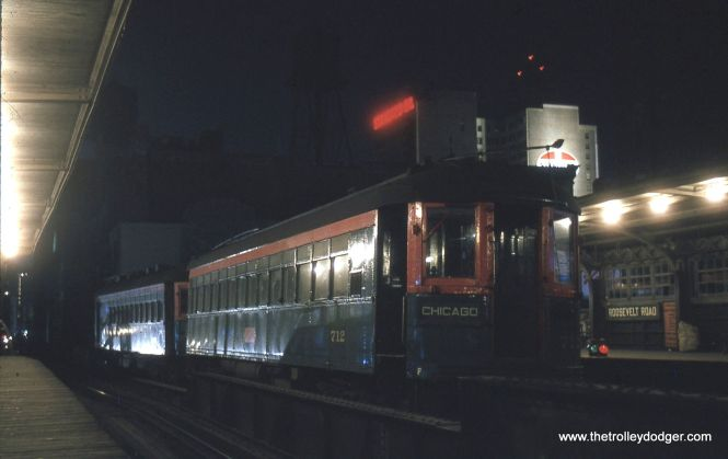 North Shore Line 712 at Roosevelt Road in July 1962.
