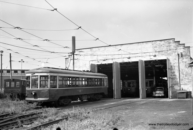Rochester Transit car 48, which ran on the Rochester subway. Passenger service was abandoned in 1956, and part of the subway was used for a highway. You can hear audio from the Rochester Subway on Railroad Record Club LP #30, which is available on compact disc in our Online Store.