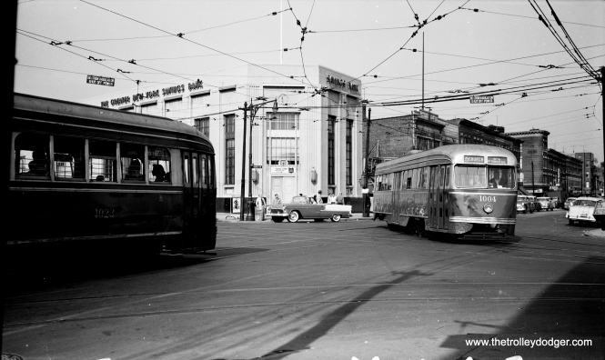 Brooklyn PCCs 1023 (left) and 1004 (right) on October 13, 1956, near the end of streetcar service.