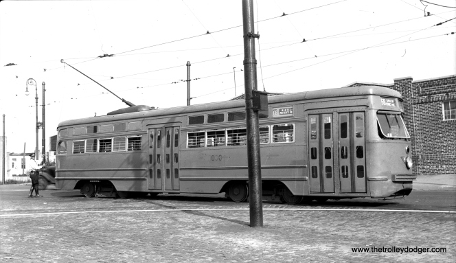 Brooklyn & Queens Transit 1000. This aluminum-bodied car received a steel front end from another PCC car after an accident.