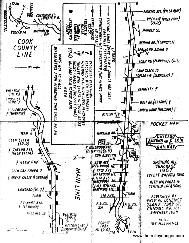 "A CA&E pocket map made by Roy G. Benedict in 1958, when the ""Roarin' Elgin"" had already abandoned passenger service (except for charters) but was still running freight. Roy mimeographed these and sold them to aspiring railfans. He has made many additional maps since, and has had a successful career in the publishing industry."