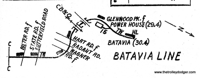 As this enlargement from Roy Benedict's 1957 track map shows, there were but two places on the CA&E Batavia branch under trolley wire. Having eliminated State Road as a possibility, that pretty much decides it as the stretch between the Power House and the end of the line.