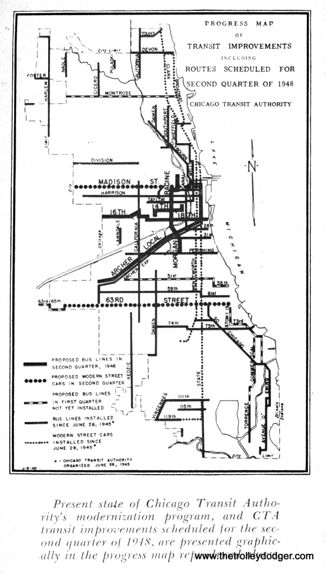 CTA surface system improvements for the second quarter of 1948 included putting PCC streetcars on Madison and 63rd Street. They were already running on Clark-Wentworth and Broadway-State. They would be put on Western Avenue in the third quarter, which involved a partial substitution by buses on the outer ends of the route.