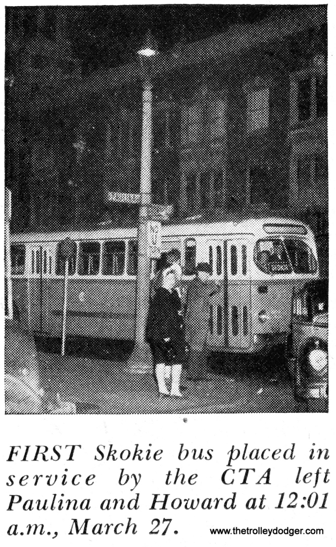 "The #97 was CTA's first suburban bus route and replaced the Niles Center ""L"" service on March 27, 1948. Just over 16 years later, however, CTA introduced the Skokie Swift over the same trackage. The #97 bus continued in service."