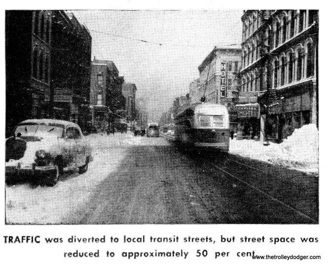 "CTA streetcars in the winter of 1950-51. One of our readers says this is ""Clark Street looking north around Hubbard."""