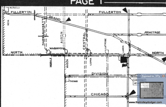 An enlargement from a 1946 CSL supervisor's map shows how streetcars and trolley buses had two miles of shared wire between Cicero and Narragansett.