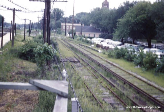 CA&E ROW at Wheaton Looking East from the gate tower. (William Barber Collection)