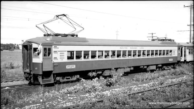 South Shore Line #15 in an unusual paint scheme on a 1954 fantrip.