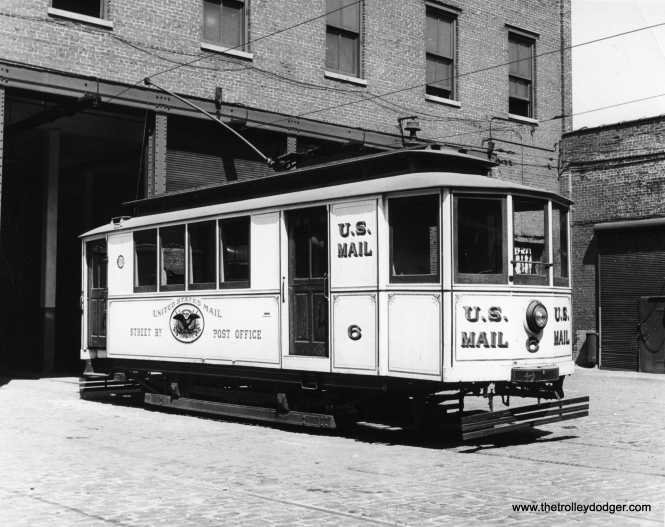 A recent post mentioned a May 25, 1958 CERA fantrip, where Chicago Transit Authority personnel brought out cars from their historical collection to pose for photographs. Here is another such car taken out that day, Chicago street railway post office #6, built in 1891 and currently preserved at the Fox River Trolley Museum in South Elgin.