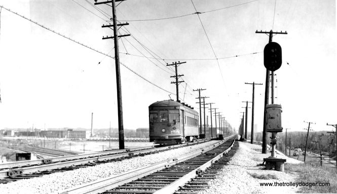 North Shore Line city streetcar 356 in Milwaukee on May 13, 1951. Sister car 354 is preserved at the Illinois Railway Museum.
