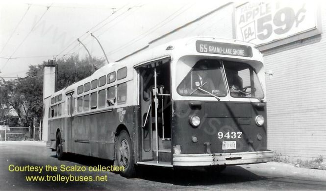 This image from www.trolleybuses.net, credited to the Scalzo collection, shows a Grand trolleybus, Marmon 9437, at Grand and Nordica on October 12, 1968. There was a grocery east of the loop, which later became a thrift store.