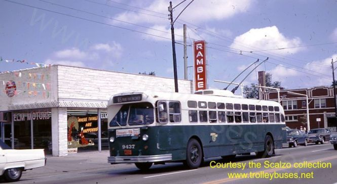 Marmon 9437 westbound on Grand at Newland on September 7, 1969, again from www.trolleybuses.net and the Scalzo collection. From 1954 to 1964, my family lived just south of here on Medill. The Rambler dealer later became AMC, then Jeep, Chrysler-Jeep and is now demolished. We are a short distance from the Grand-Nordica loop.