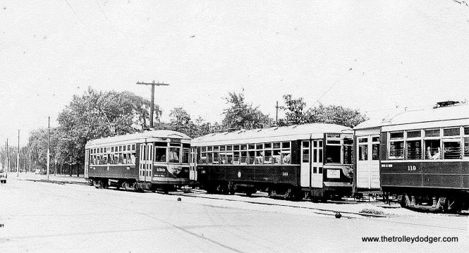Chicago & West Towns cars 153, 140, and 119 on the busy LaGrange line.