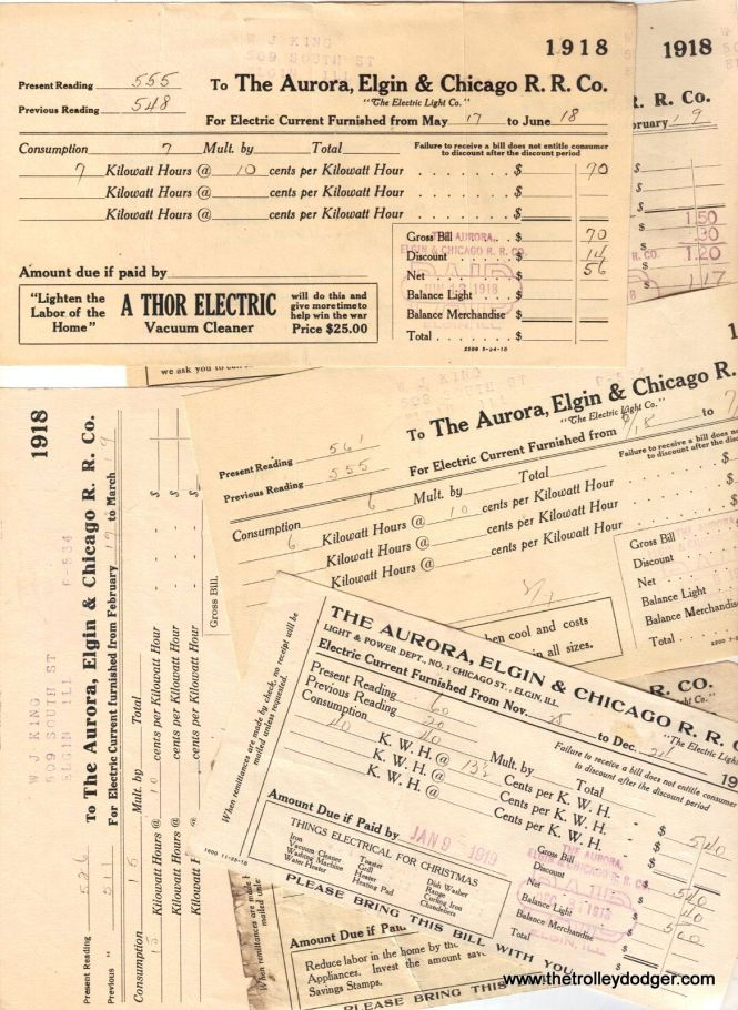 At one time, people purchased their electric service directly from the interurban, as seen in these 1918 bills.